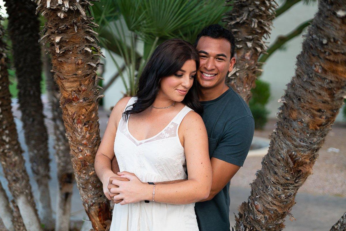 Loving Couple Embracing in Scottsdale - Engagement Photos