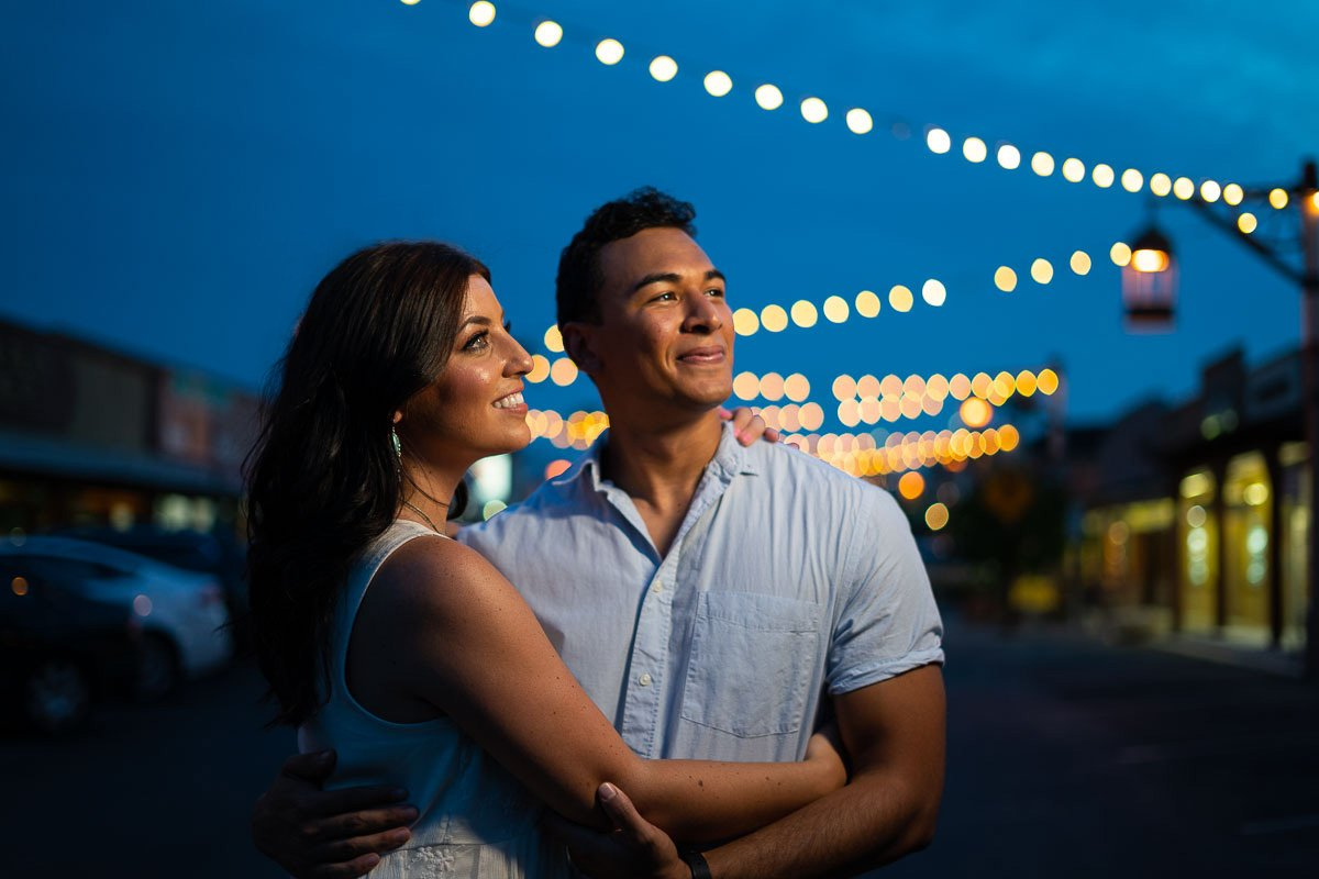 Engagement Photography of couple in Scottsdale at twilight.