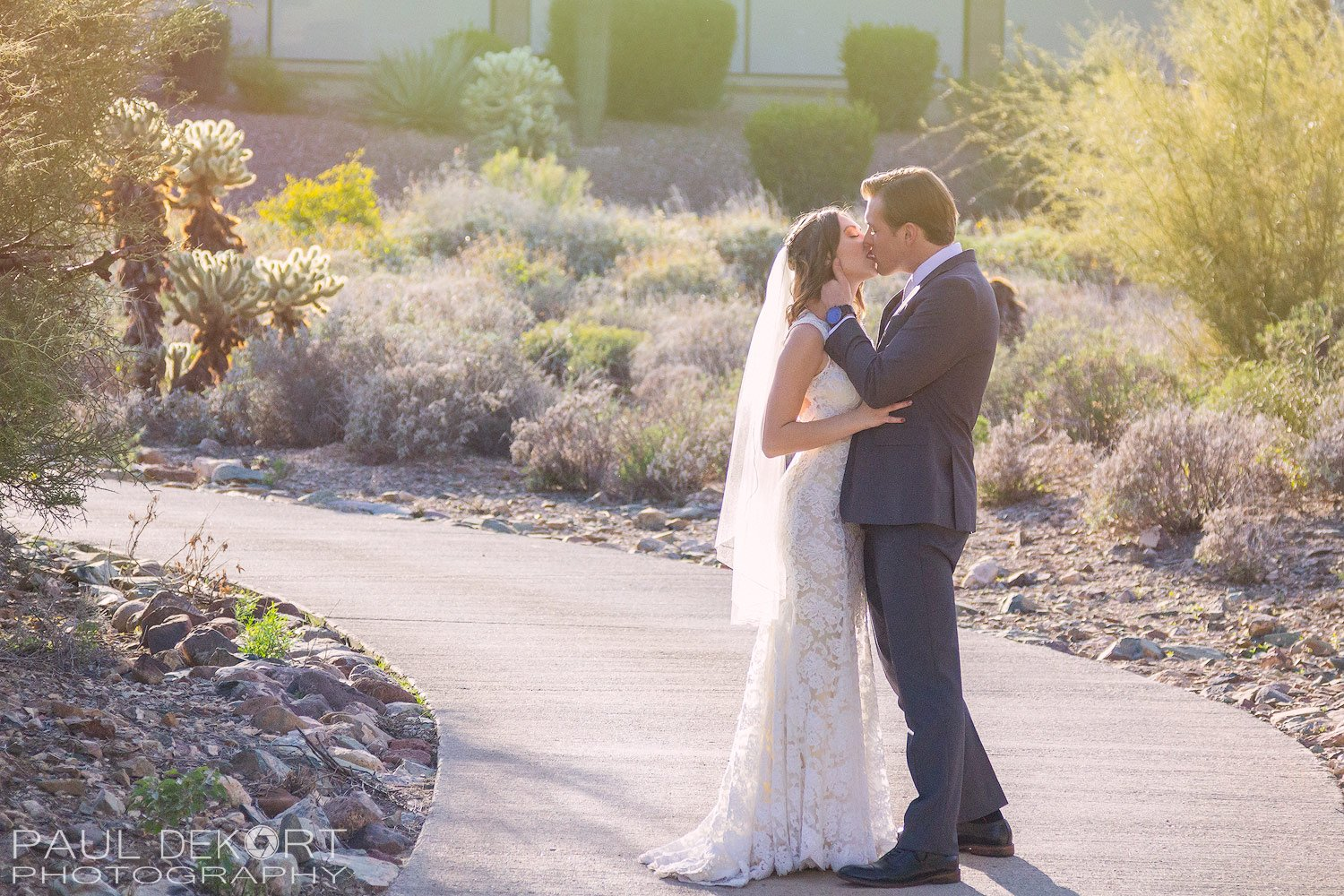 Bride and Groom kissing during First Look.
