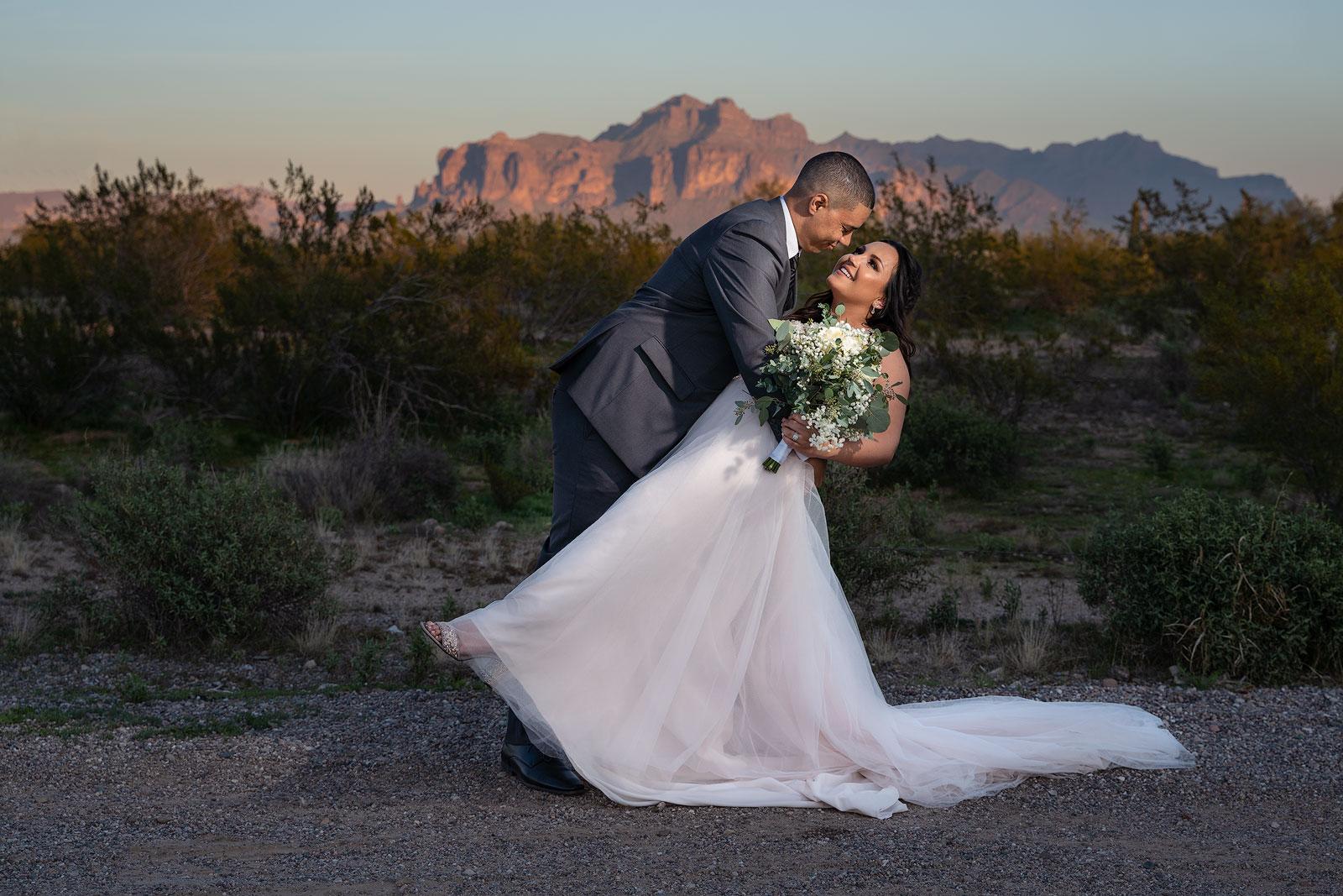 Amanda and Justin wedding dip at sunset